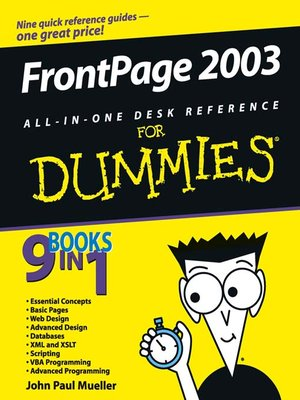 Frontpage 2003 all in one desk reference for dummies by for For dummies template book cover
