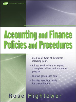 cover image of Accounting and Finance Policies and Procedures