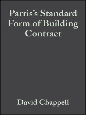 cover image of Parris's Standard Form of Building Contract