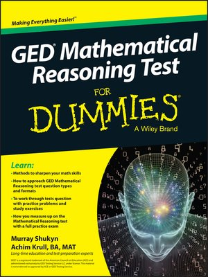 cover image of GED Mathematical Reasoning for Dummies