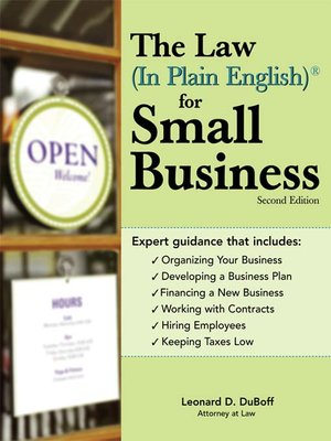 cover image of Law (In Plain English)® for Small Business