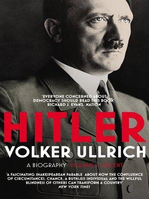 cover image of Hitler, Volume 1