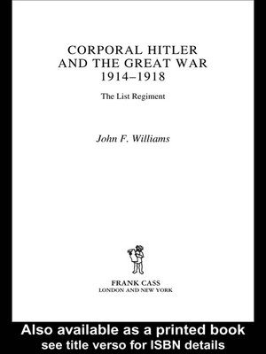cover image of Corporal Hitler and the Great War 1914-1918