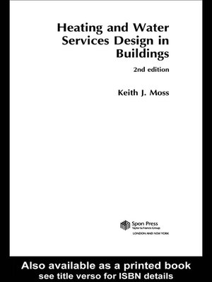 heating and water services design in buildings moss keith