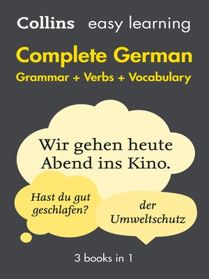 cover image of Easy Learning German Complete Grammar, Verbs and Vocabulary