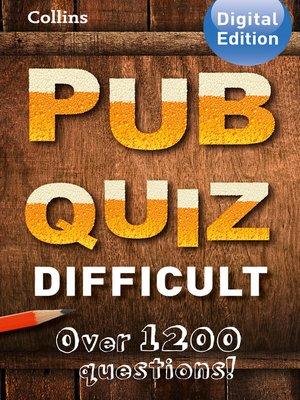 cover image of Collins Pub Quiz (Difficult)