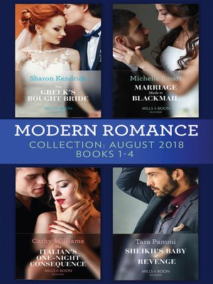 cover image of Modern Romance August 2018 Books 1-4 Collection