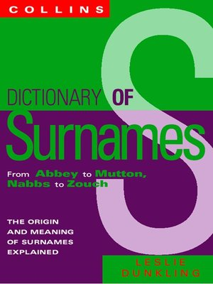 cover image of Collins Dictionary of Surnames