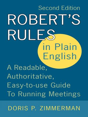 cover image of Robert's Rules in Plain English 2e