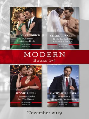cover image of Modern Box Set 1-4/His Contract Christmas Bride/Bride Behind the Billion-Dollar Veil/Christmas Baby for the Greek/The Italian's Christma