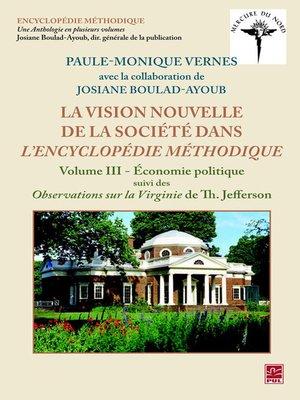 cover image of Vision nouvelle de la société dans L'Encyclopédie méthodique