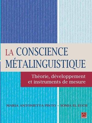 cover image of La conscience métalinguistique
