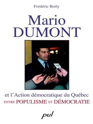 cover image of Mario Dumont et l'Action démocratique du Québec