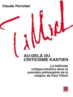 cover image of Au-delà du criticisme kantien