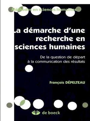 cover image of Démarche d'une recherche en sciences humaines
