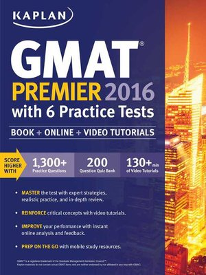 cover image of Kaplan GMAT Premier 2016 with 6 Practice Tests