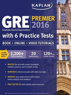 cover image of GRE Premier 2016 with 6 Practice Tests