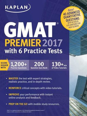 cover image of GMAT Premier 2017 with 6 Practice Tests