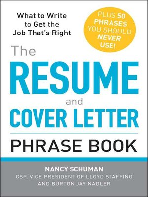 the resume and cover letter phrase book cover letter book