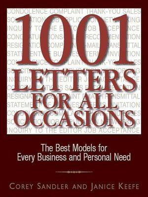 1001 Letters For All Occasions By Corey Sandler