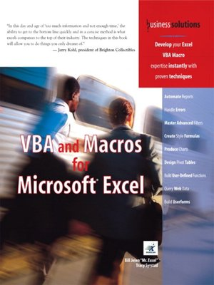 cover image of VBA and Macros for Microsoft Excel
