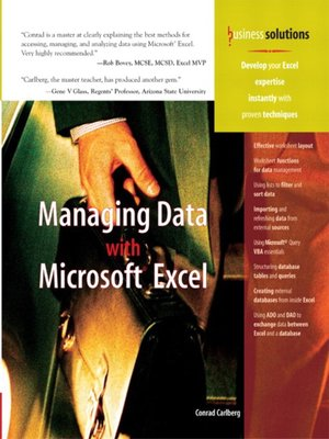 cover image of Managing Data with Microsoft Excel