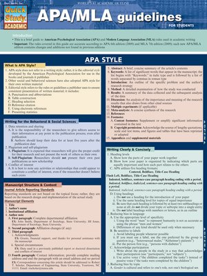 cover image of APA/MLA Guidelines