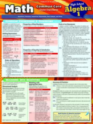 cover image of Math Common Core Algebra 1-9Th Grade