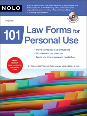 cover image of 101 Law Forms for Personal Use