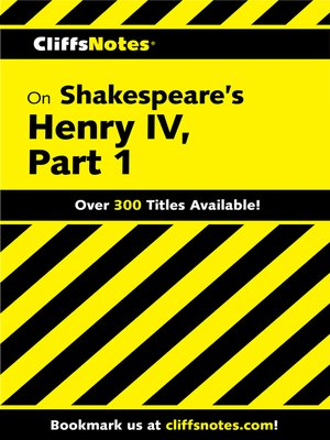 cover image of CliffsNotes on Shakespeare's Henry IV, Part 1