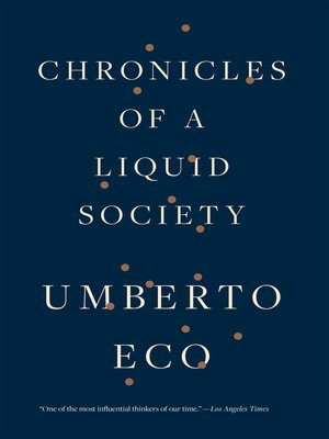 cover image of Chronicles of a Liquid Society