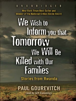 cover image of We Wish to Inform You That Tomorrow We Will Be Killed with Our Families