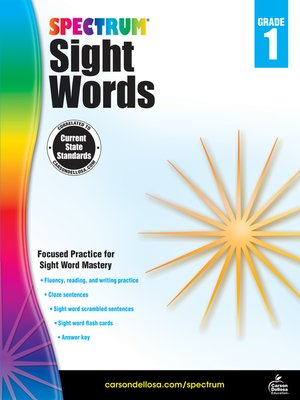 cover image of Spectrum Sight Words, Grade 1
