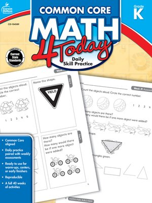 cover image of Common Core Math 4 Today, Grade K