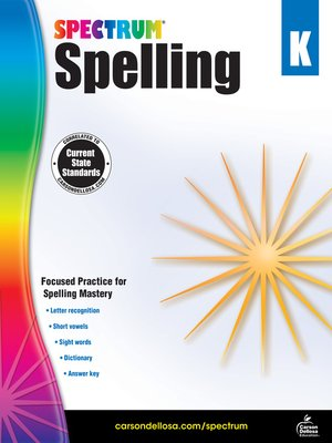 cover image of Spectrum Spelling, Grade K