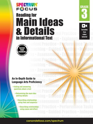cover image of Spectrum Reading for Main Ideas and Details in Informational Text