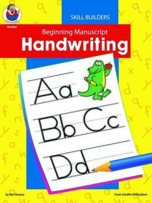 cover image of Beginning Manuscript Handwriting, Grade K