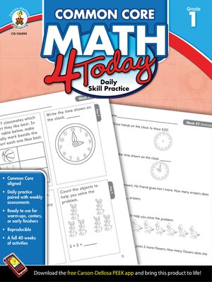 cover image of Common Core Math 4 Today, Grade 1
