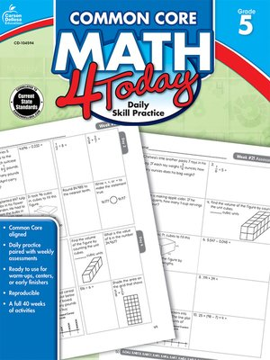 cover image of Common Core Math 4 Today, Grade 5