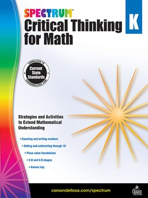 cover image of Spectrum Critical Thinking for Math, Grade K