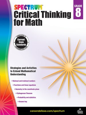 cover image of Spectrum Critical Thinking for Math, Grade 8