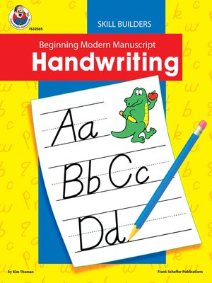 cover image of Beginning Modern Manuscript Handwriting Skill Builder, Grades K - 2