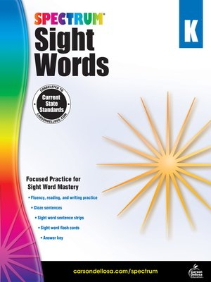 cover image of Spectrum Sight Words, Grade K