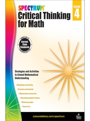 cover image of Spectrum Critical Thinking for Math, Grade 4
