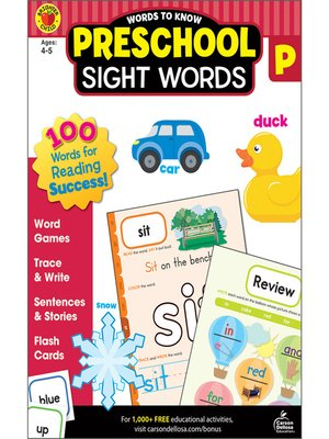 cover image of Words to Know Sight Words, Grade Preschool