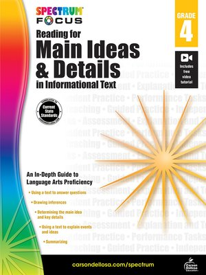 cover image of Spectrum Reading for Main Ideas and Details in Informational Text, Grade 4