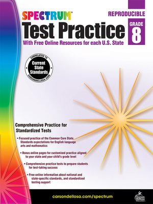 cover image of Spectrum Test Practice, Grade 8