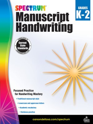 cover image of Spectrum Manuscript Handwriting, Grades K--2