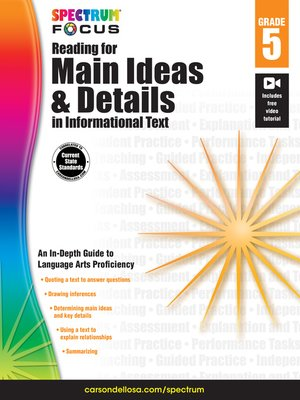 cover image of Spectrum Reading for Main Ideas and Details in Informational Text, Grade 5