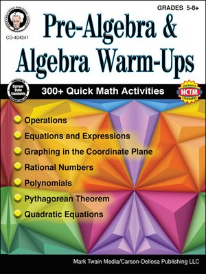 cover image of Pre-Algebra and Algebra Warm-Ups, Grades 5--8